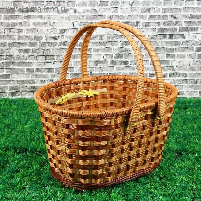 Корзина «Пикник», с 2-мя цельнокроенными ручками, 36х28 см, Н=22/38 см, бамбук, сыть