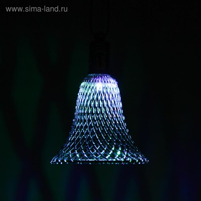 """Подвеска световая \""""Колокольчик серебряный\"""" (батарейки в комплекте), 7 см, 1 LED, RGB"""