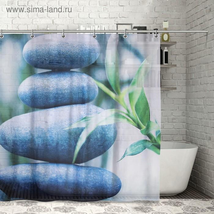 """Штора для ванной 180х180 см \""""Камни и бамбук\"""", полиэстер"""