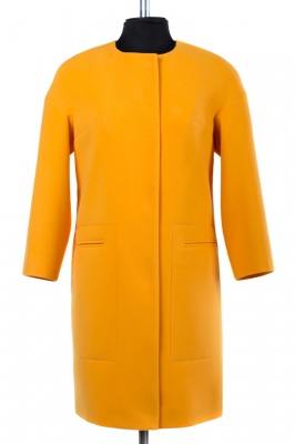 01-6847 Пальто женское демисезонное Кашемир Желтый
