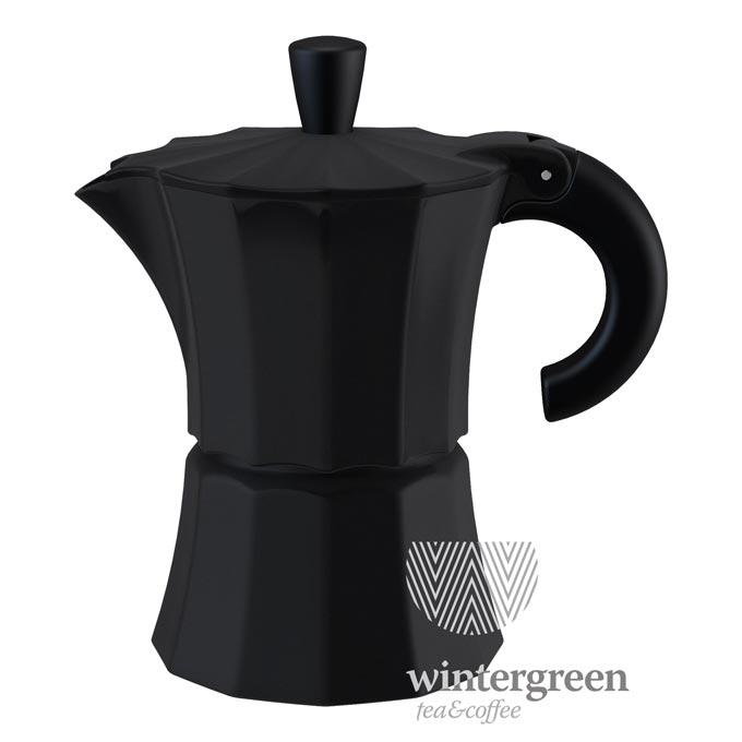 MOR003-BLACK Гейзерная кофеварка Morosina (на 6 чашек). Цвет черный.