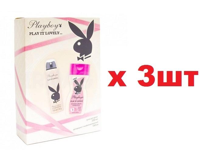 Playboy Набор Play it Lovely Дезодорант Спрей 150мл+Гель для душа 250мл жен 3шт