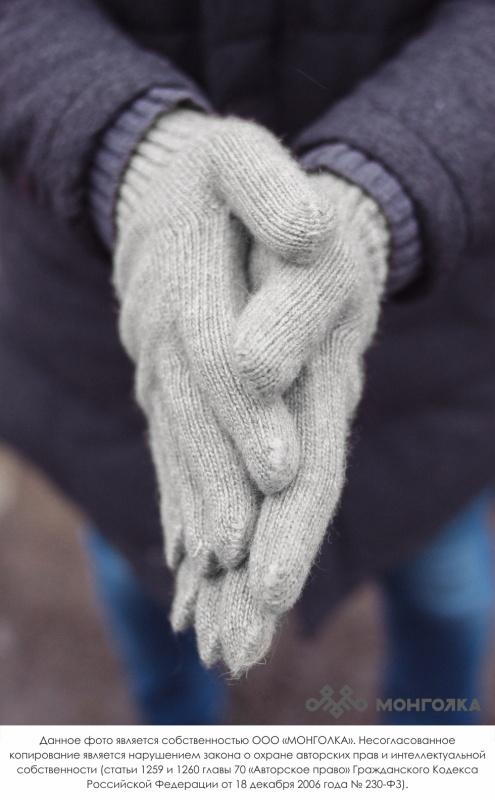 """Перчатки взрослые из шерсти \""""Як\"""" серый"""