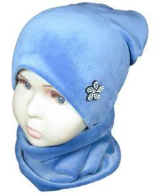 вд1356-10 Комплект шапка удлиненная/снуд велюр голубой