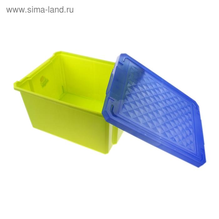 """Ящик для игрушек 57 л \""""Лего\"""" на колесах с крышкой, цвет фисташковый"""