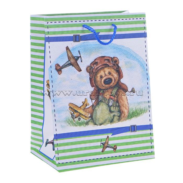 Бумажный пакет Мишка-летчик для сувенирной продукции (17,8х22,9х9,8см, с ламинацией, пл