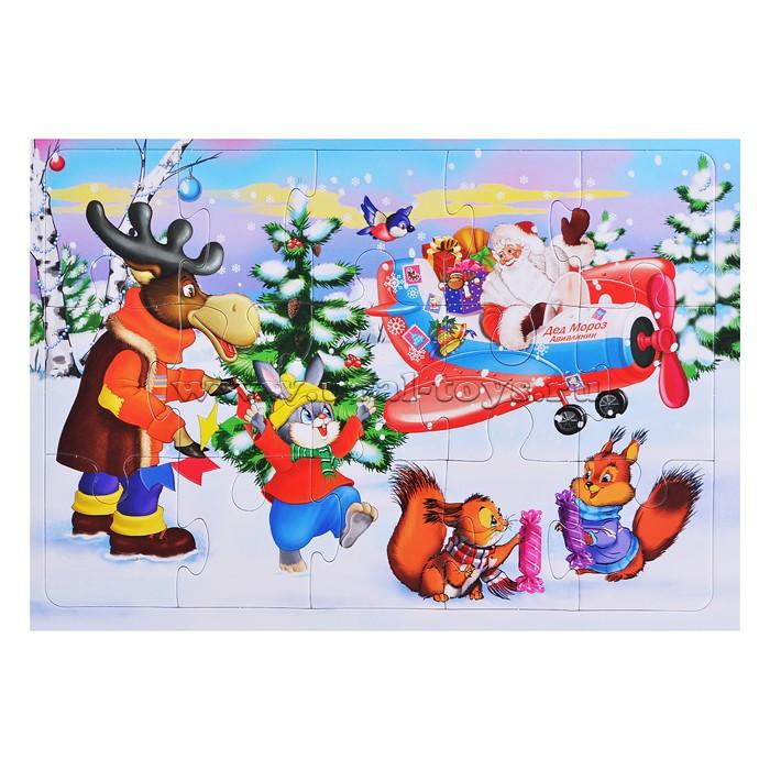 """Пазлы в рамке 15 """"Звери встречают деда Мороза"""""""