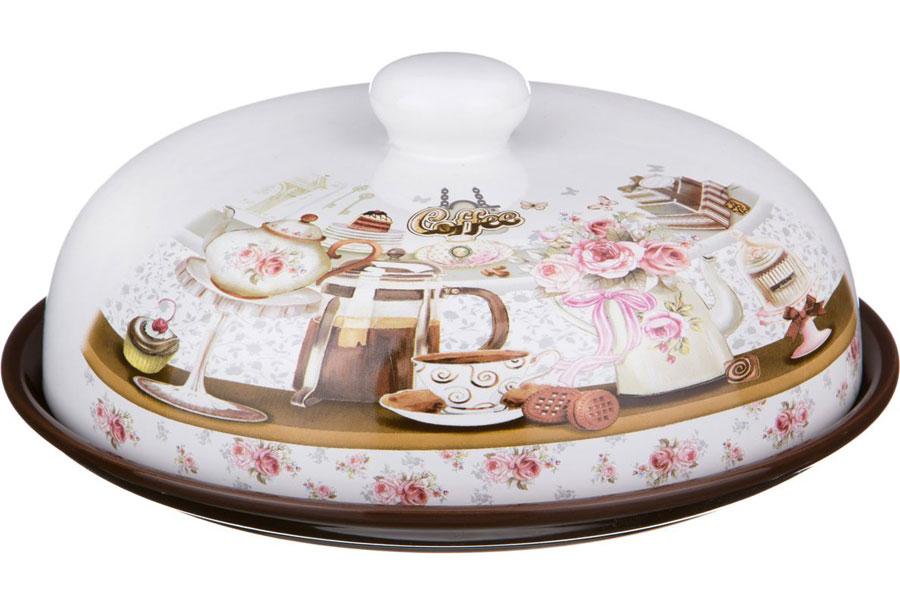 """Блюдо для блинов Agness 358-900 с крышкой \""""coffee\"""" диаметр 23 см высота 10 см"""