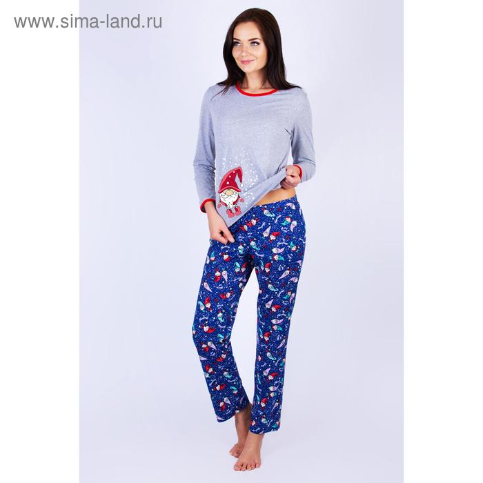 Пижама женская (джемпер, брюки) 221хр2377П цвет серо-синий, р-р 46