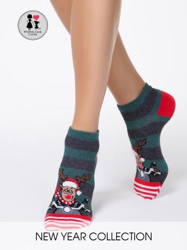 """Новогодние носки \""""Рудольф\"""" с пушистой нитью"""