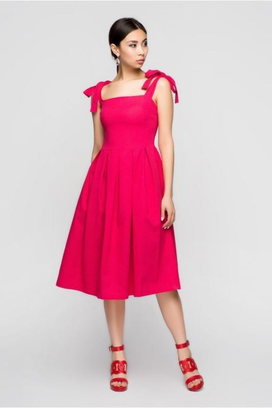 A-Dress: Яркий малиновый сарафан из льна 70920