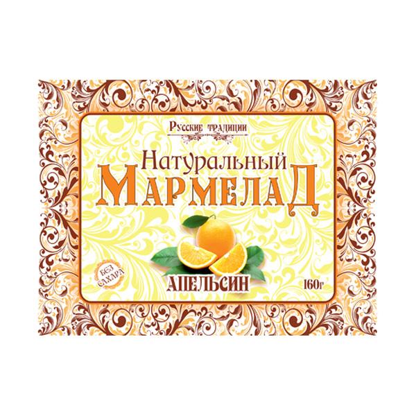 Мармелад натуральный без сахара Апельсин, 160 г
