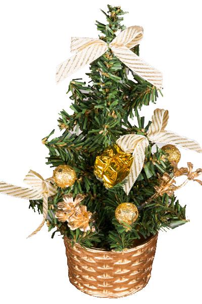 Елочка настольная, украшенная веточками, шариками и подарками 20см TR1720G