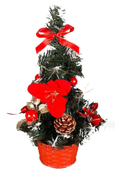 Елочка настольная, украшенная бантиками, цветами и шишками 25см TR1725R