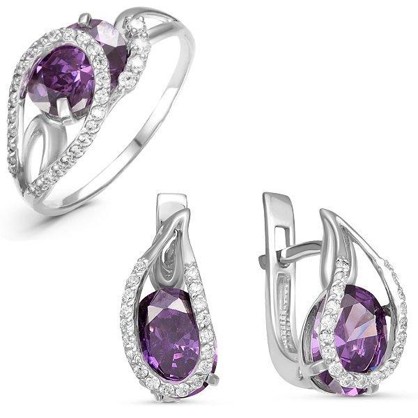 Серебряный гарнитур с фианитами фиолетового цвета