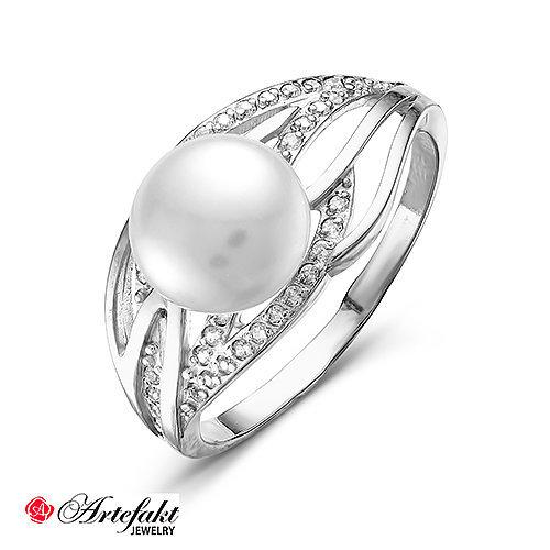 Серебряное кольцо с жемчугом - 466