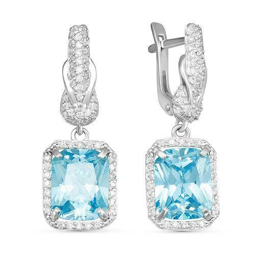 Серебряные серьги с фианитами голубого цвета 069