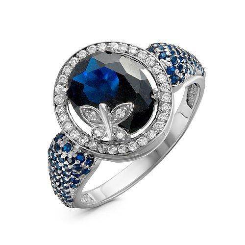 Серебряное кольцо с фианитами синего цвета 1008
