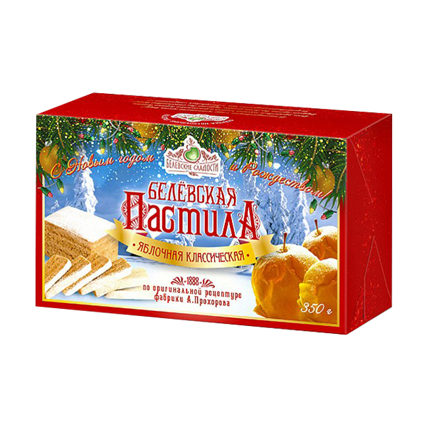 Белёвская пастила яблочная Классическая (в новогодней упаковке), 350г