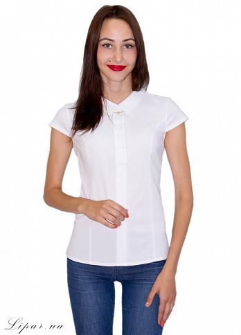 Женская Блуза с коротким рукавом Белая 2052 белый