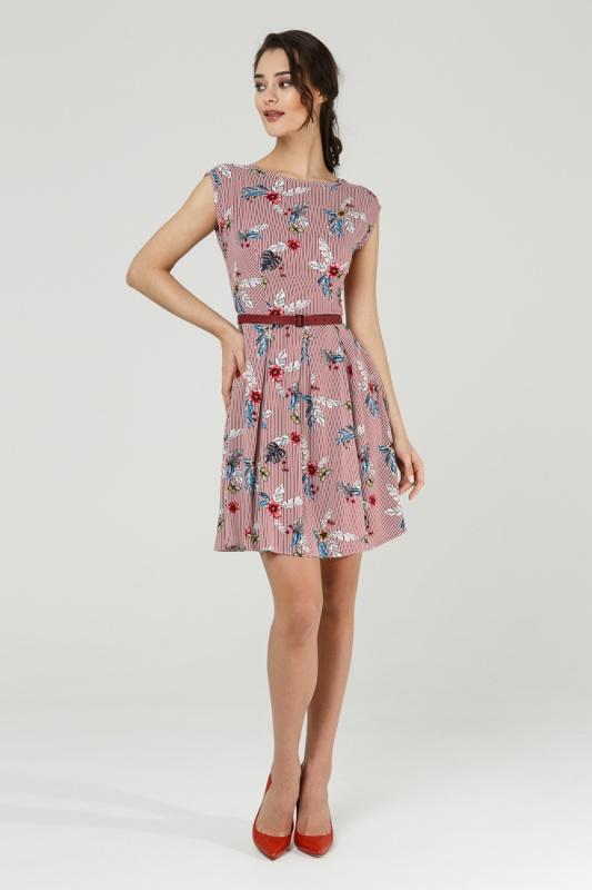 Платье с ремнем 7589