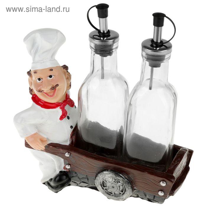 """Набор бутылей для соуса и масла на подставке 150 мл \""""Повар с телегой\"""""""