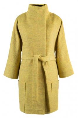 01-5684 Пальто женское демисезонное (пояс) Шерсть Желтый
