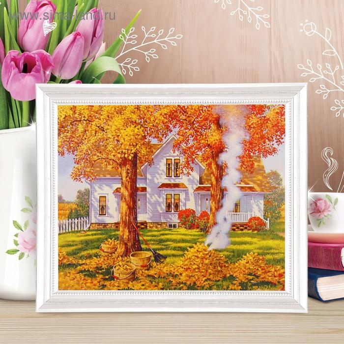 """Роспись по холсту """"Осень золотая"""" по номерам с красками по 3 мл+ кисти+инстр+крепеж 30*40"""