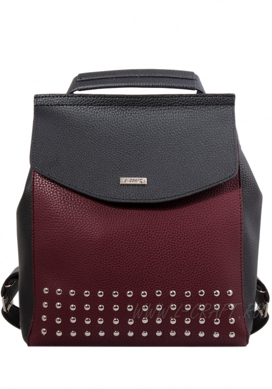 Модель №1390 | кожзам | гладкий | черный бордовый | Р775-23 | 24161