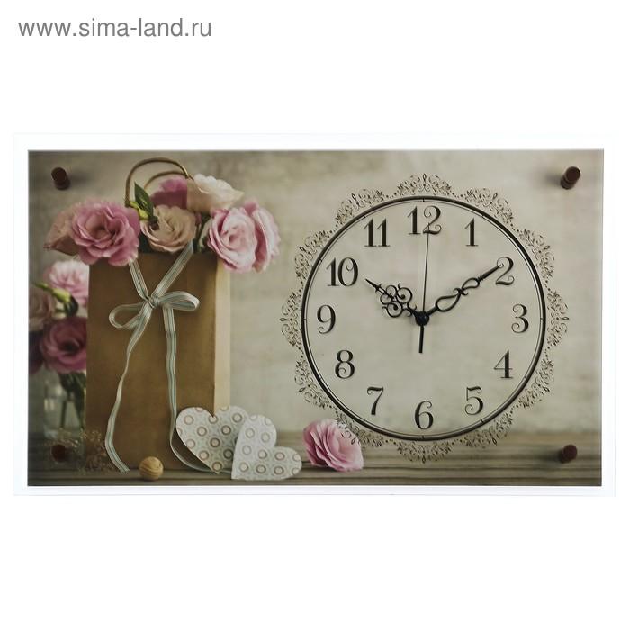 """Часы настенные, серия: Цветы, """"Цветочки в пакетике"""", микс 36х60 см"""