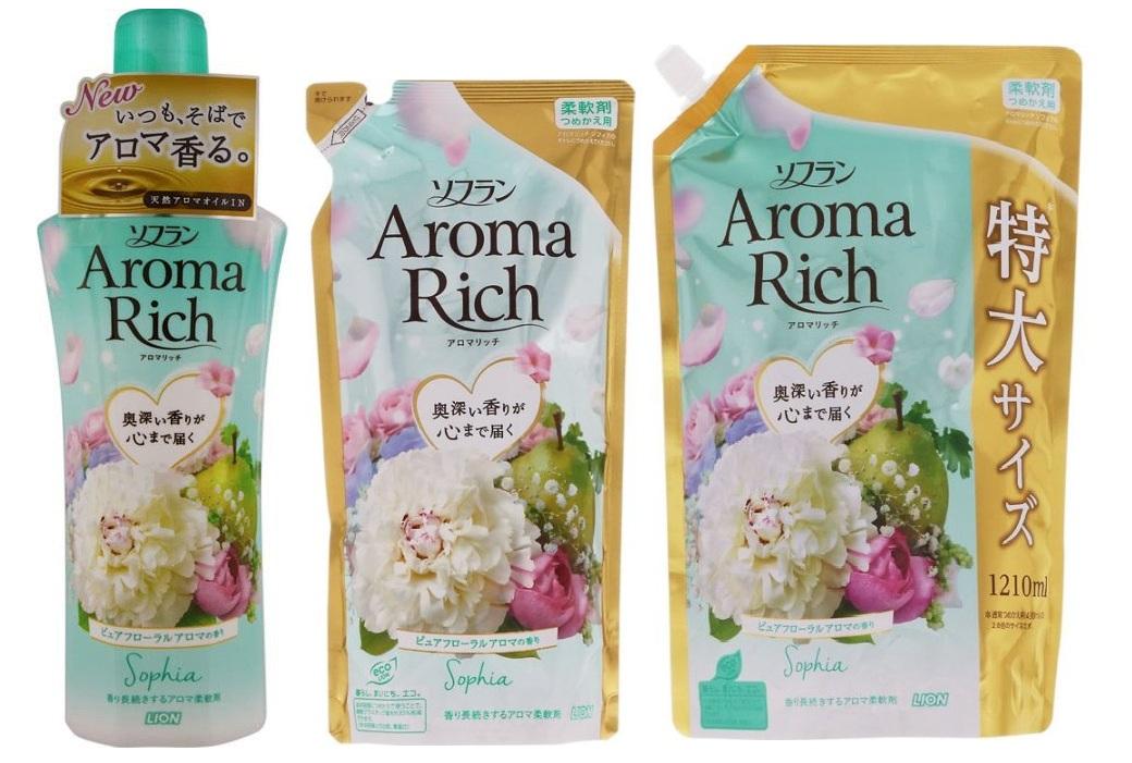 """263265 LION \""""Aroma Rich Sophia\"""" Кондиционер для белья, c ароматом магнолии и ириса, запасной блок, 1210 мл"""
