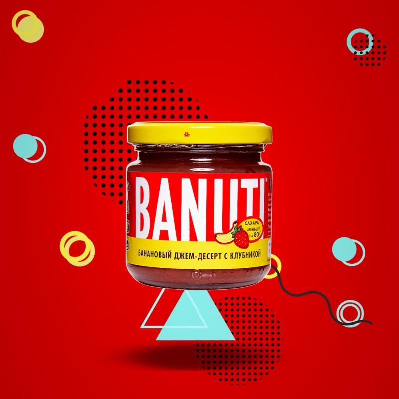 """Фруктовый десерт """"BANUTI"""" банан с  клубникой (без сахара)"""