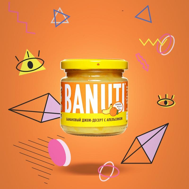 """Фруктовый десерт \""""BANUTI\"""" банан с апельсином (без сахара)"""