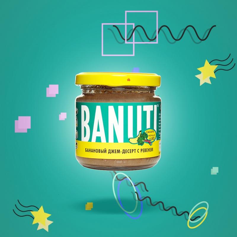 Банановый джем-десерт с ревенем