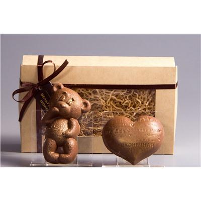 Мишка + Сердце с надписями