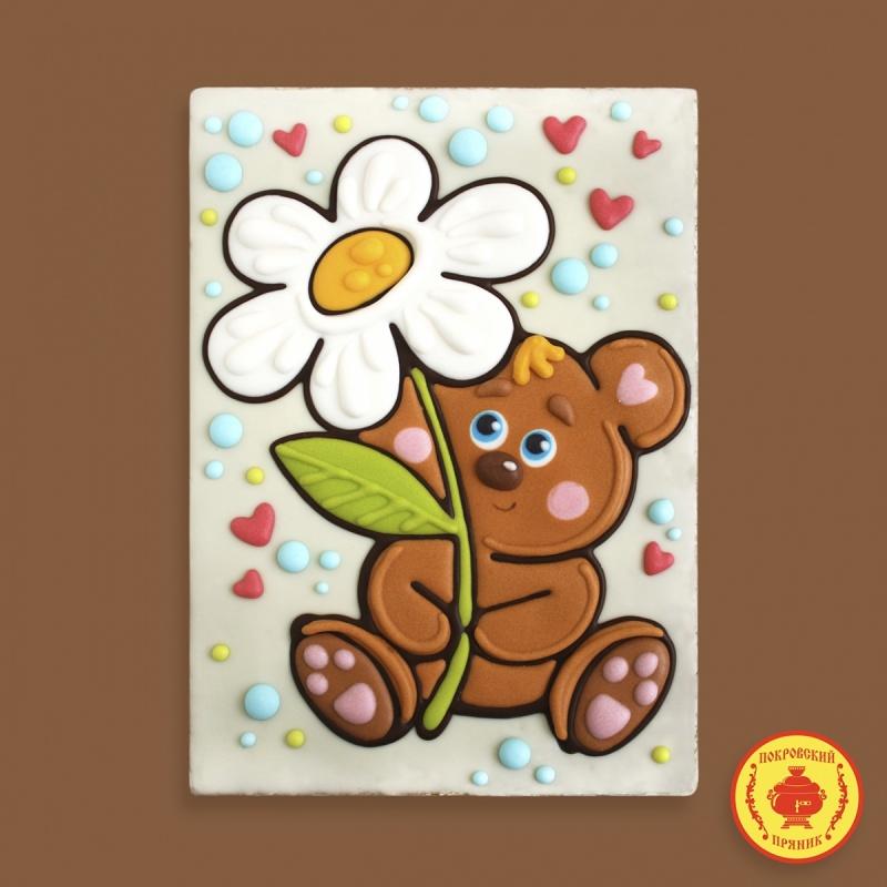 Тортик Мишка с цветком (700 грамм) пластиковая упаковка