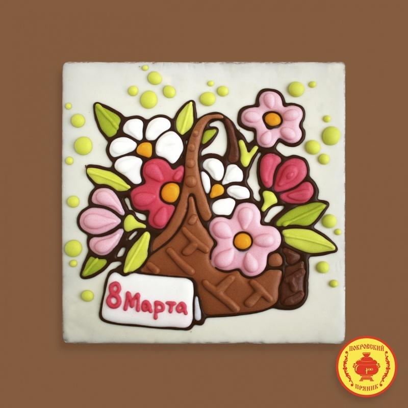 "Тортик Корзина с цветами \""8 Марта\"" 700 грамм"