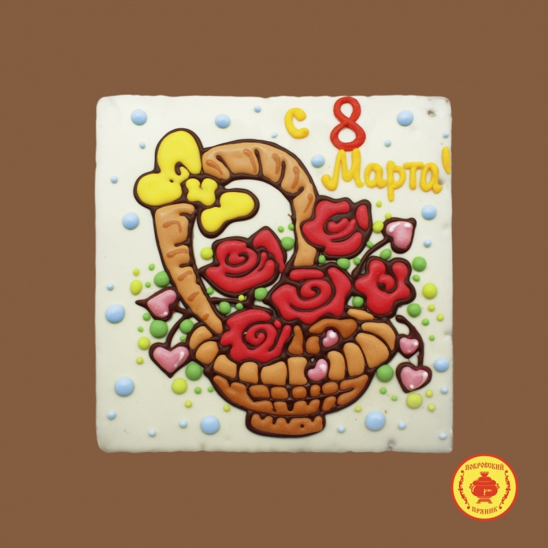 Тортик Цветы «с 8 Марта» корзина (700 гр)