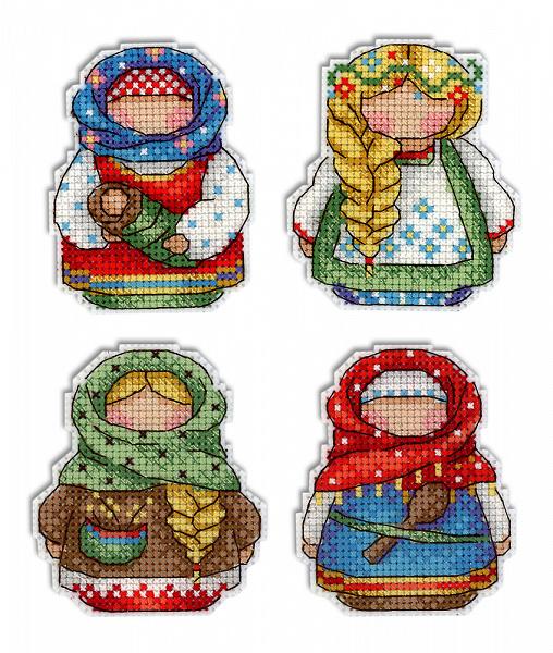 абор для вышивания ЖАР-ПТИЦА арт.Р-338 Русские обереги Магниты 9х6 см