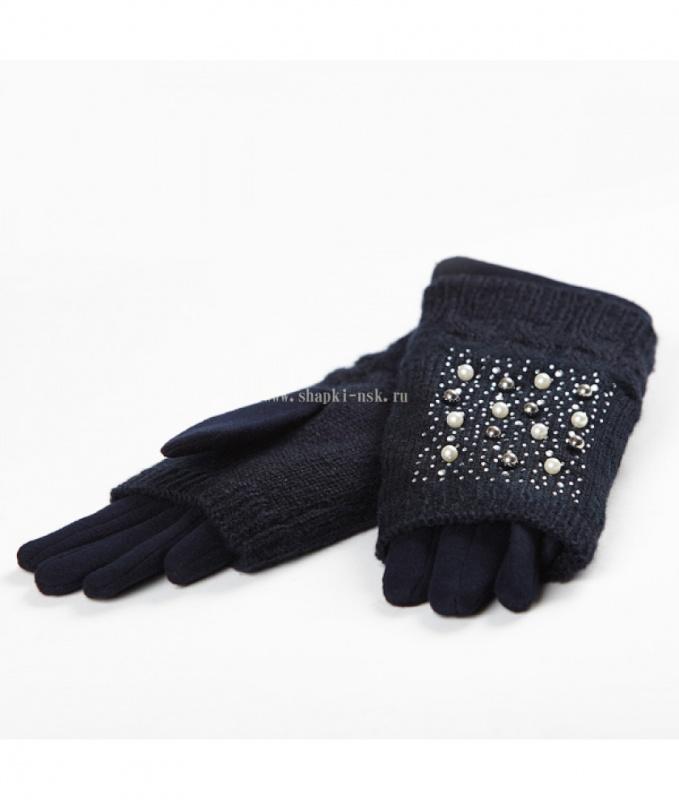 36 F перчатки-митенки стрейч плис жен.