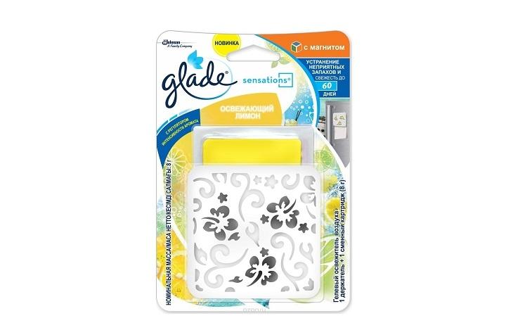 Glade Гелевый освежитель воздуха 8г с магнитом Освежающий Лимон