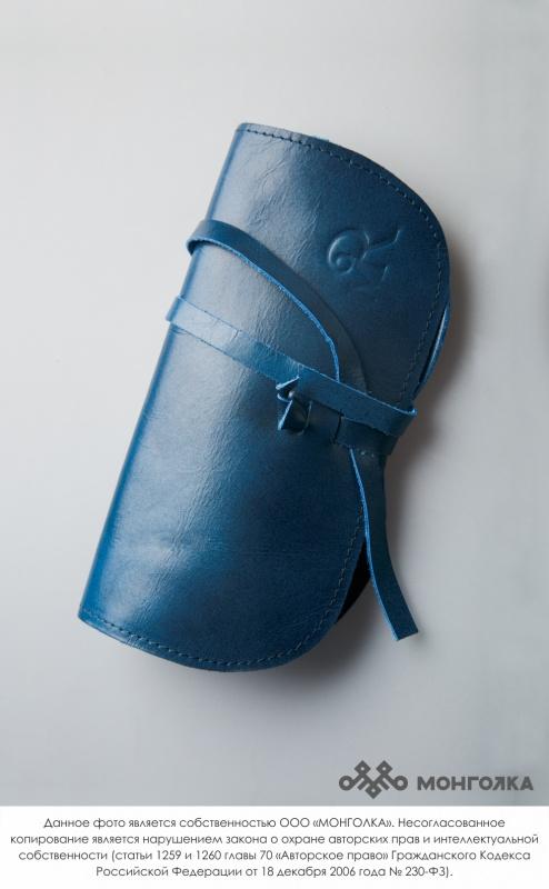 Чехол для очков 100% кожа синий