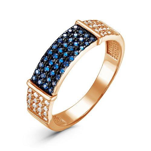 Позолоченное кольцо с синими фианитами 083