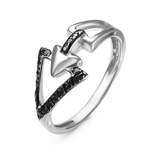 Серебряное кольцо с черными фианитами 974