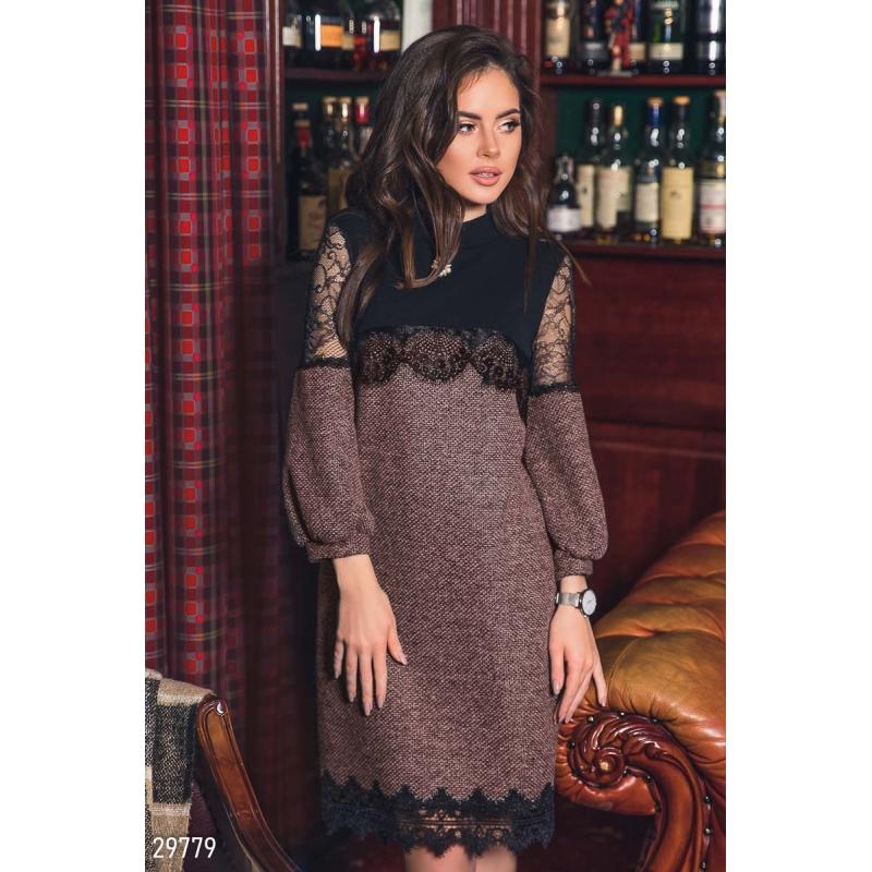 Платье-мини с кружевом