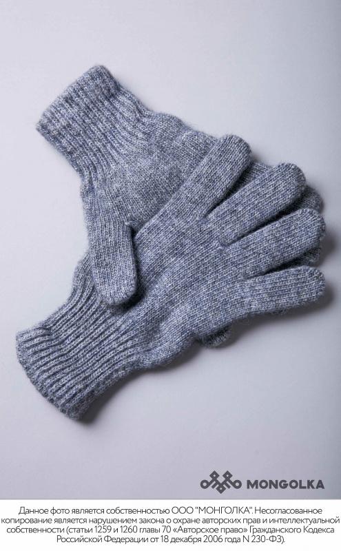 Перчатки взрослые монгольские из шерсти серый