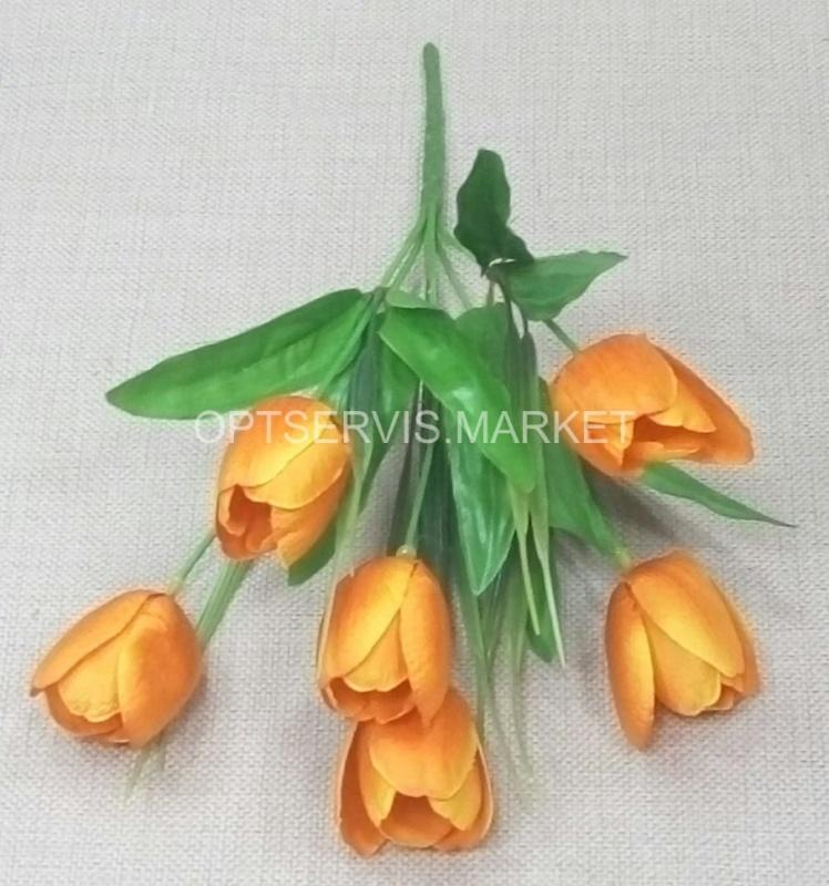 """Тюльпан \""""Гранд\"""" Высота букета 34 см 6 бутонов ⊙ 3 см, высота 5 см (оранжевый)"""