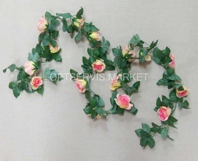 Лиана с розами. Длина 2 м Роза ⊙ 4 см (персиковый)
