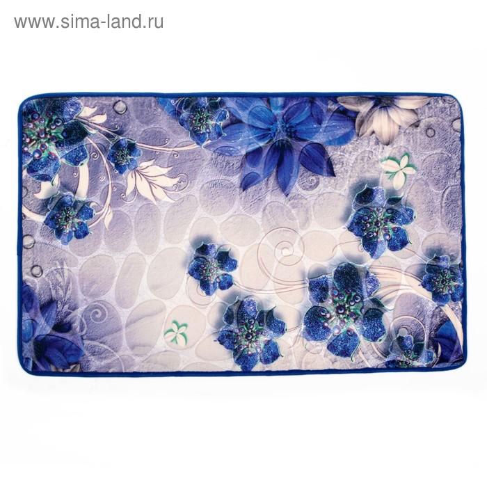 """Коврик для ванной \""""Цветы на камнях\"""", цвет синий"""