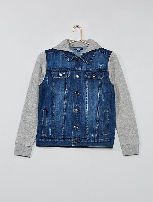 Джинсовая куртка двух видов материалов - голубой